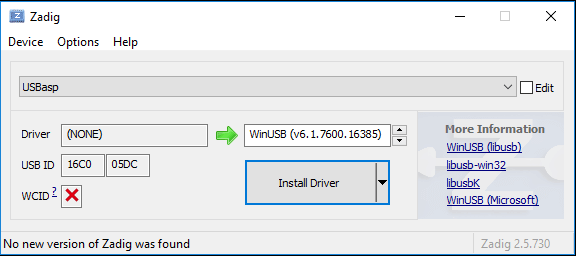 Figure 12: Using Zadig to install WinUSB for a generic USBasp clone programmer