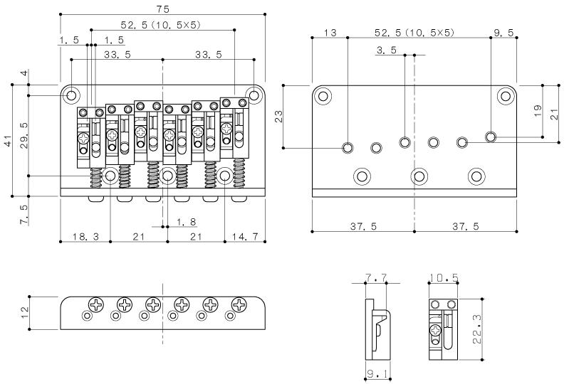 bridge gotoh 12 string for electric guitar amplified parts. Black Bedroom Furniture Sets. Home Design Ideas