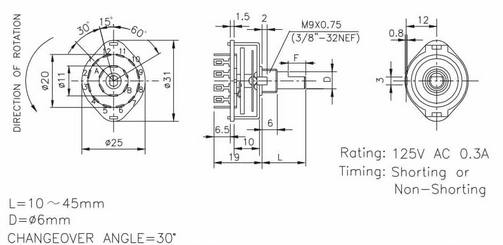 Switch - Rotary, 3 Poles, 4 Position on 4 pole slide switch, four pole switch, leviton rotary switch, 4 pole switch diagram, 4 position selector switch, 4 position rotary limit switch, 4 position rotary key switch, 6 pos rotary cam switch, two pole three-way rotary switch, 2 pole light switch, mobile rotary switch,