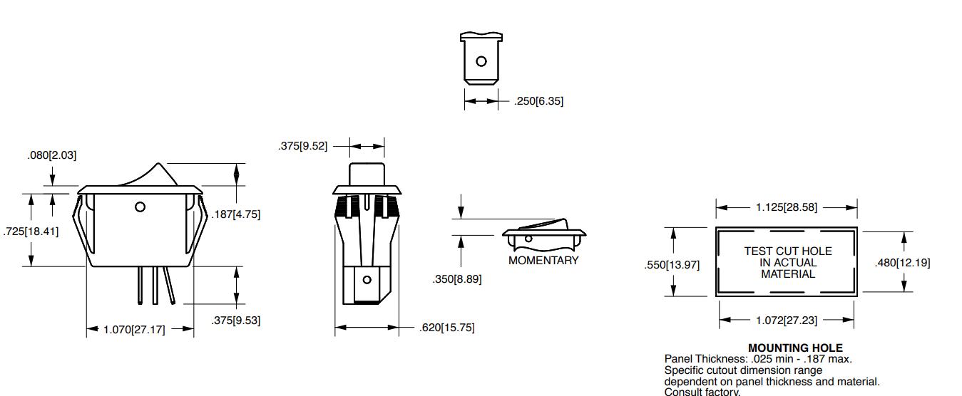 Switch - Carling, Mini Rocker, SPST, 16A, 125VAC | Amplified