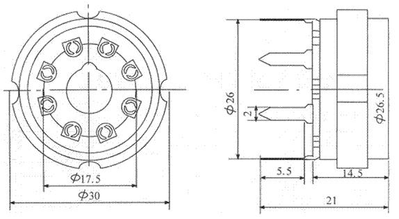 Socket 8 Pin Octal Ceramic Pc Mount Amplified Parts