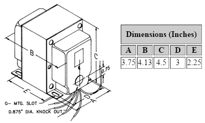 Dimensions for 750 V C.T. @ 345 mA