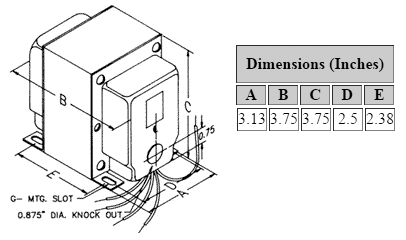Dimensions for 1,020 V C.T. @ 196 mA