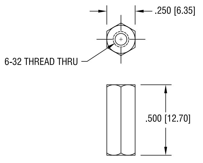 4382 250 Items Standoff Hex M//F 6-32-THD Nylon 6//6