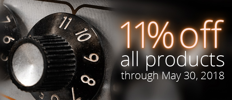 11% off all products through May 30.