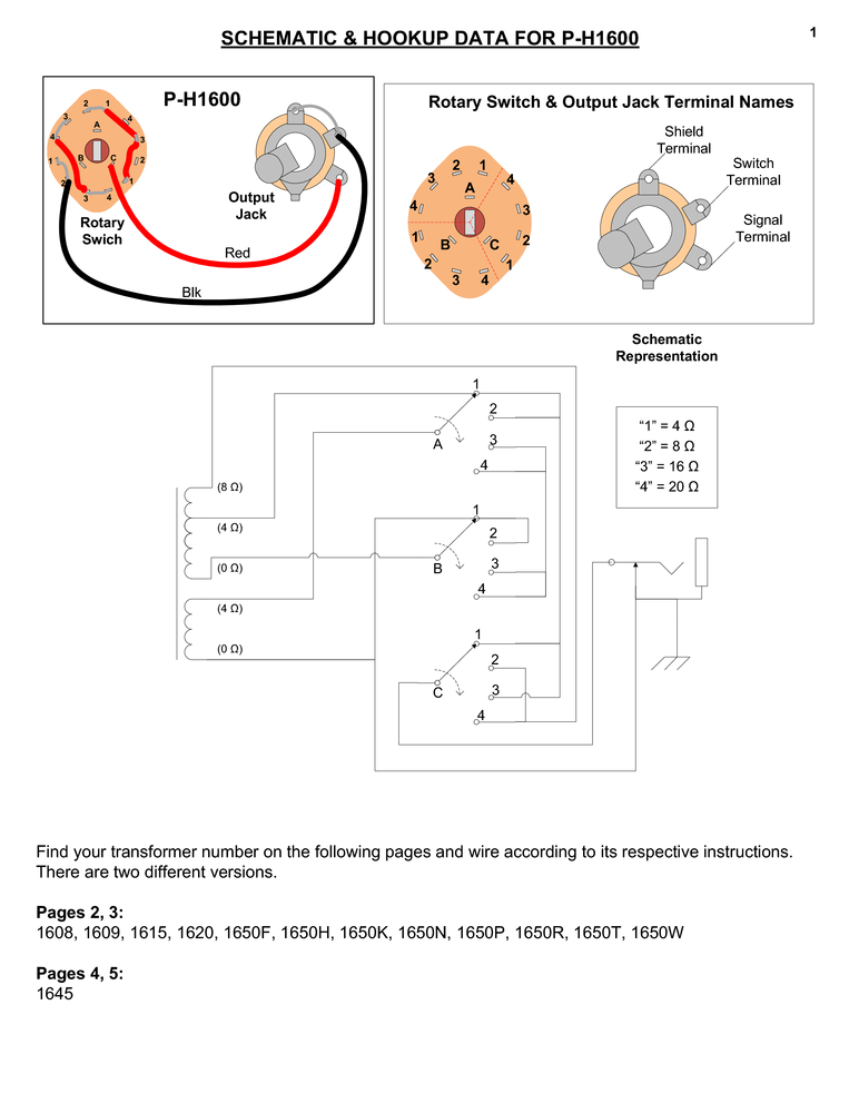 switch rotary impedance selector, for 1600 series amplified parts air ride wiring diagram p h1600_wiring pdf