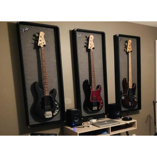 "Customer image:<br/>""I wanted some cool frames to hang my basses. The cloth is perfect! """