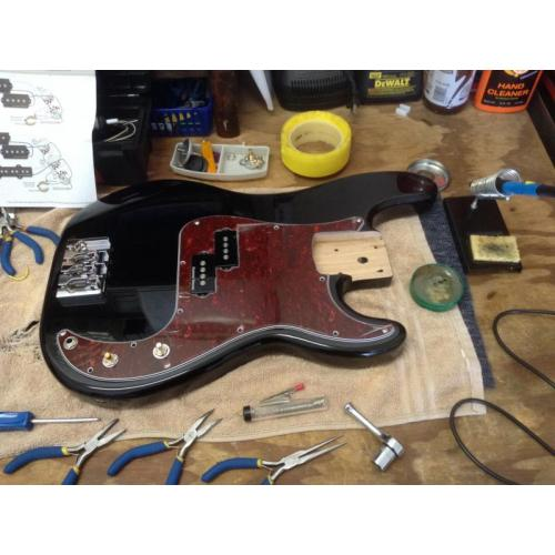 "Customer image:<br/>""Upgrading a Squier P Bass CTS 250K pots"""