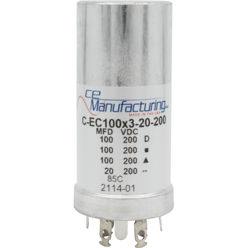 Capacitor - CE Mfg., 200V, 100/100/100/20µF, Electrolytic image 1