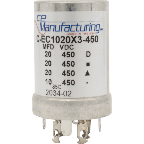 Capacitor - CE Mfg., 450V, 20/20/20/10µF, Electrolytic image 1