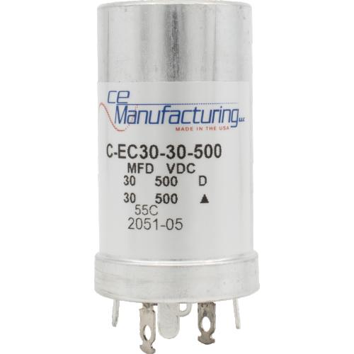 Capacitor - CE Mfg., 500V, 30/30µF, Electrolytic image 1