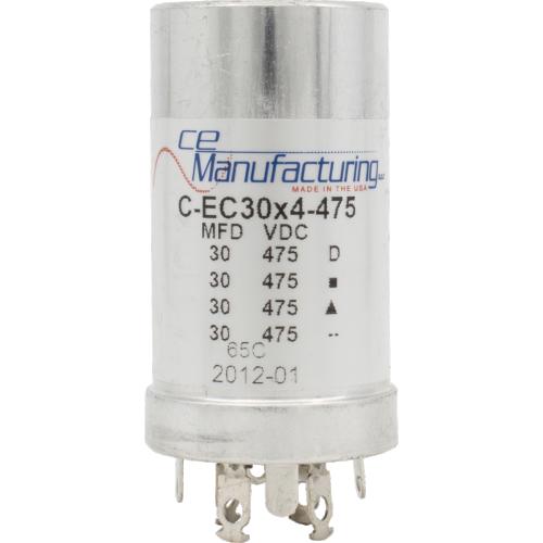 Capacitor - CE Mfg., 475V, 30/30/30/30µF, Electrolytic image 1