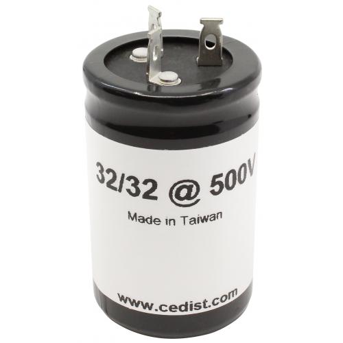 Capacitor - 500V, 32/32µF, Electrolytic image 1