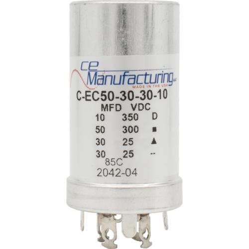 Capacitor - CE Mfg., 50µF@300V, 30µF@25V x2, 10µF@350V image 1