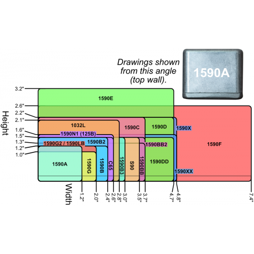 "Chassis Box - Hammond, 1590G, Diecast, 3.94"" x 1.97"" x 0.83"" image 2"
