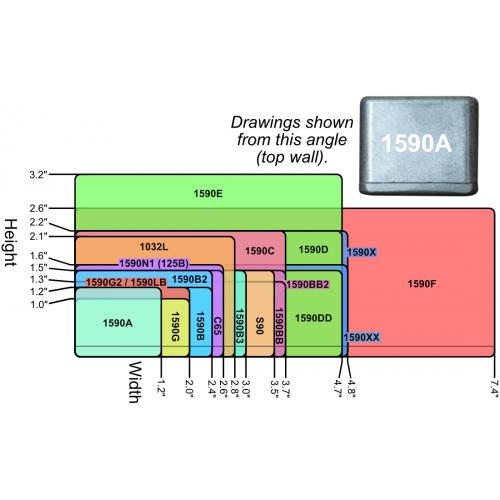 "Chassis Box - Hammond, 1590XX, Diecast, 5.72"" x 4.77"" x 1.39"" image 2"