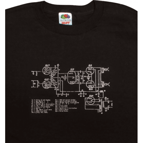 T-Shirt - Black with Amplifier Schematic image 1