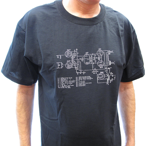 T-Shirt - Black with Amplifier Schematic image 2