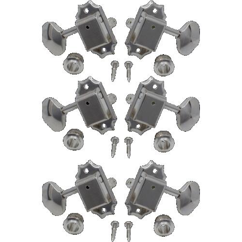 Tuners - Gotoh, Vintage Scalloped-knob, nickel, 3-per-side image 1