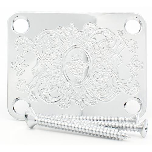 Neck Plate - Gotoh, Artistic Engraved Chrome image 1