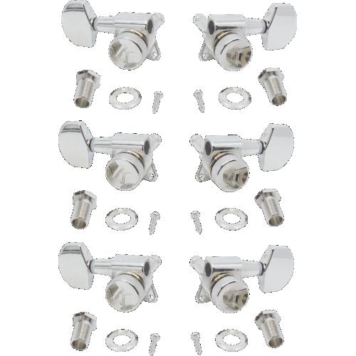 Tuners - Kluson, 3 per side, Locking, Large Metal knob, Nickel image 1