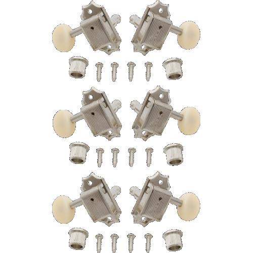 Tuners - Kluson, plastic, 3 per side, nickel / white image 1
