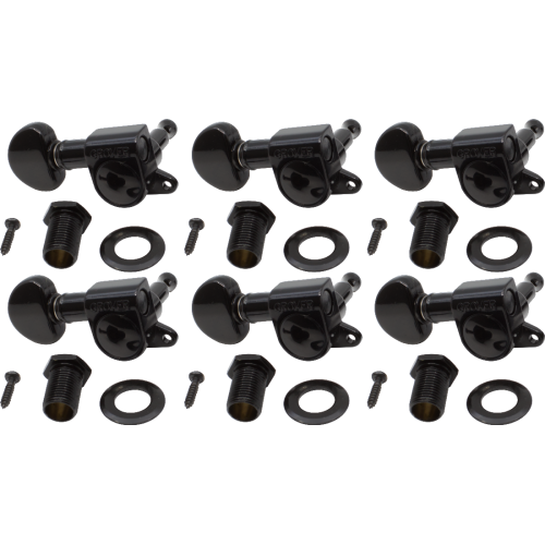 Tuners - Grover, Mini Rotomatic, left-handed, black, 6-in-line image 1