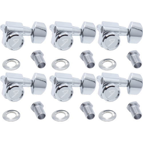 Tuners - Fender®, locking, 6 in a line, chrome image 1