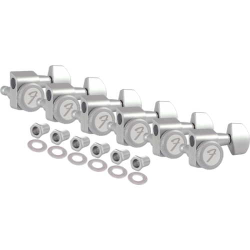 Tuners - Fender, Locking Tuners, 6 in line, satin chrome image 4
