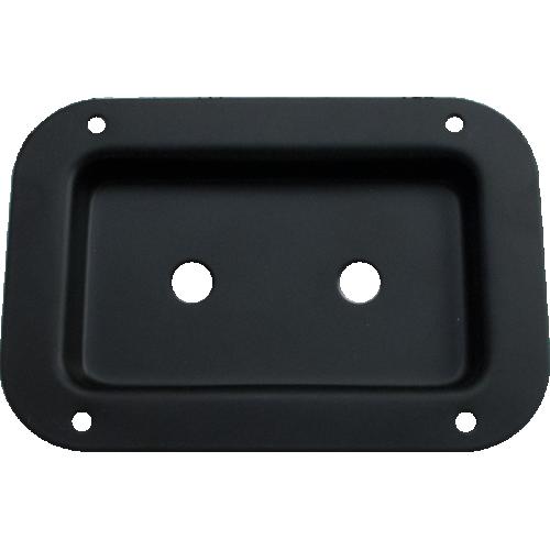 """Jack Plate - 2-Hole, Metal, 3.5"""" x 5.13"""", Black image 1"""