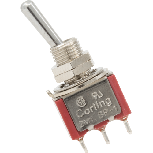 Switch - Carling, Mini Toggle, SPDT, 2 Position, Solder Lugs image 1