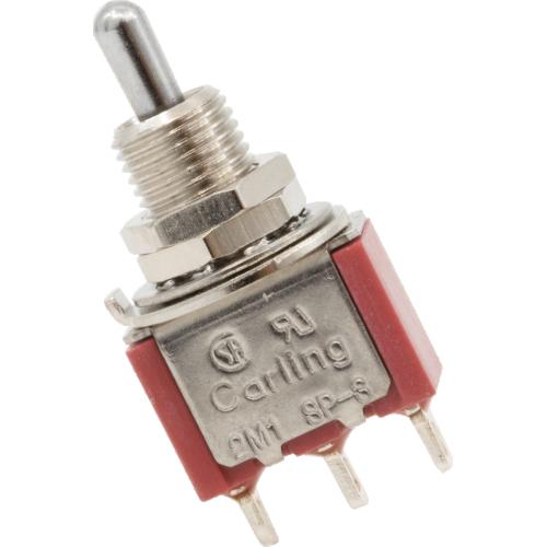 Switch - Carling, Mini Toggle, SPDT, 3 Position, Solder Lugs, Short Bat image 1