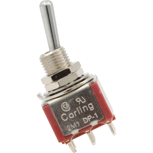 Switch - Carling, Mini Toggle, DPDT, 2 Position, Solder Lugs image 1
