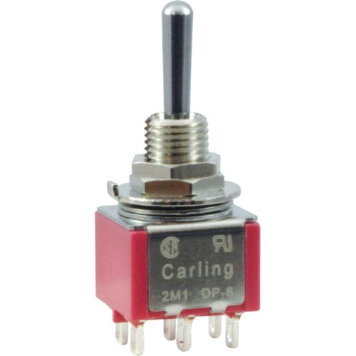 Switch - Carling, Mini Toggle, DPDT, ON-ON-ON image 1