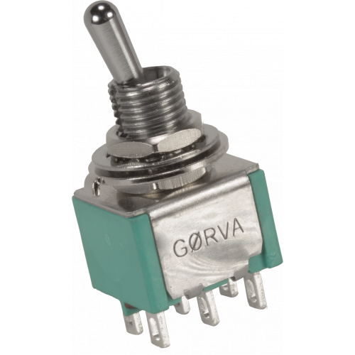 Switch - GØRVA, Mini Toggle, DPDT, 3 Position, Solder Lugs, Medium Bat image 1