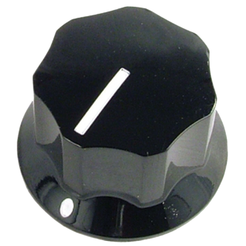 "Knob - Black, Line, Set Screw, 1.0"" diameter x .6"" tall image 1"