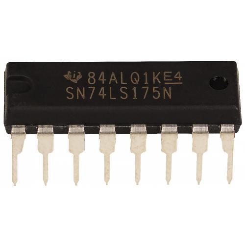 Integrated Circuit - SN74LS175, Quadruple D-Type Flip-Flops, 16-pin DIP image 1