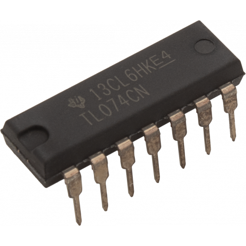 Op-Amp - TL074, Quad, Low-Noise, JFET Input, 14-Pin DIP image 1