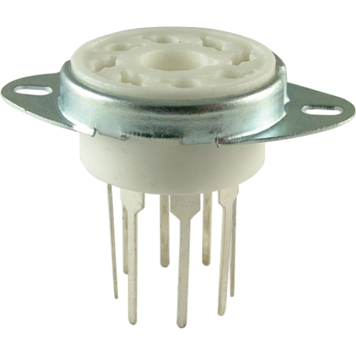 """Socket - 8 Pin Octal, 7/8"""" Fits in 1"""" Hole with Bracket PC Mount image 1"""