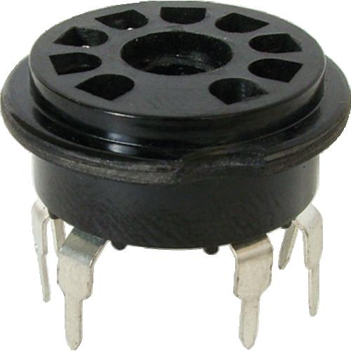Socket - 9 Pin, PC Mount, Black Plastic image 1
