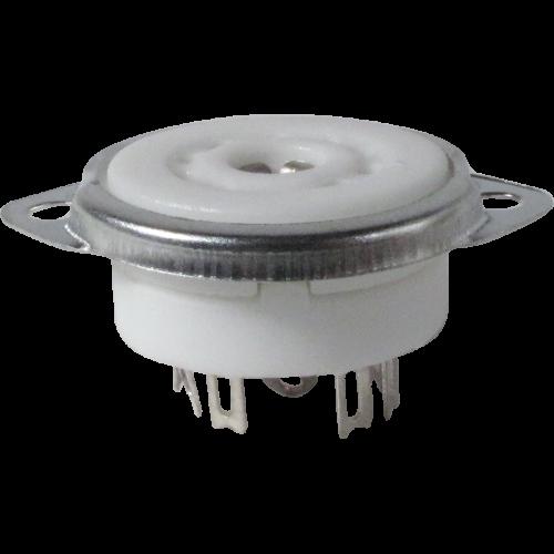 Socket - 9 pin miniature, ceramic, bottom or top mount image 1