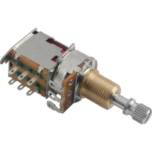 Potentiometer - 250kΩ, Audio, Knurled Shaft, Push-Push, DPDT image 1