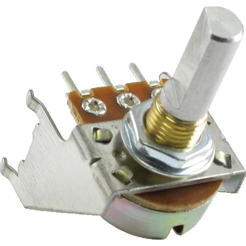 Potentiometer - Fender®, 100kΩ, Reverse Audio, D Shaft, Snap-In image 1