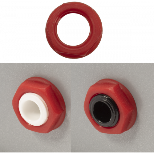 Nut - Cliff, Hex, Red, used on Loudspeaker Output Jacks image 1