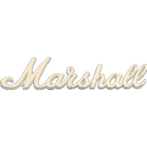 "Logo - Marshall, Gold Script on white plastic, 6"" image 1"