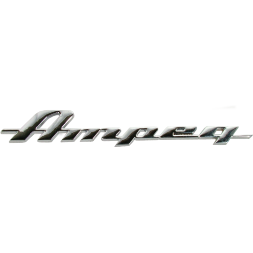 Logo - Ampeg, Script, silver metal for amps image 1