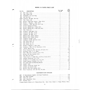 U.S. Radio & Television Corp. 24-Parts, Price list