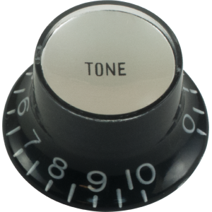 Knob - Top Hat, Black with Silver Cap, Gibson Style