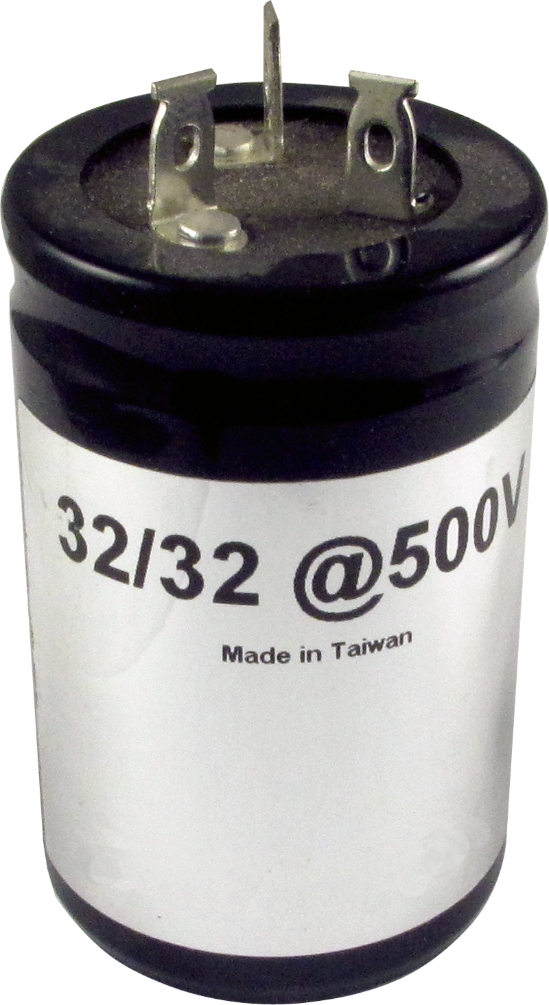 Capacitor 500V Multi-Section F/&T Capacitance: 50//50 µF Electrolytic