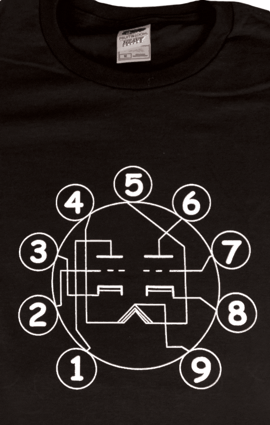 T-Shirt - Black with Dual Triode Tube Pin-out
